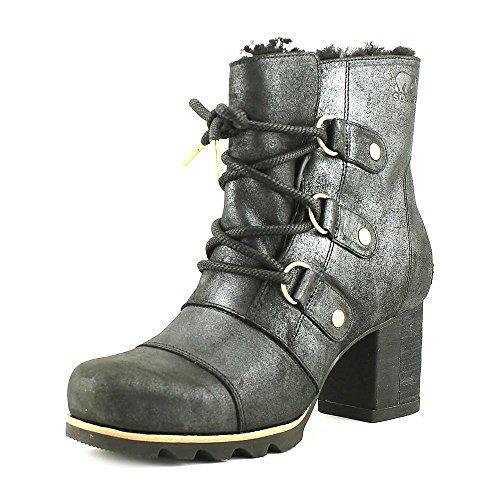 SOREL Women's Addington Lace up Holiday Booties, Black, 9 B(M) US