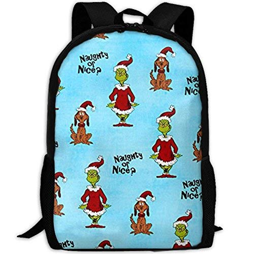 Christmas Naughty Or Nice 3D Printed Zippered Travel Bag School College Backpack Fits 13 Inch Laptop ()