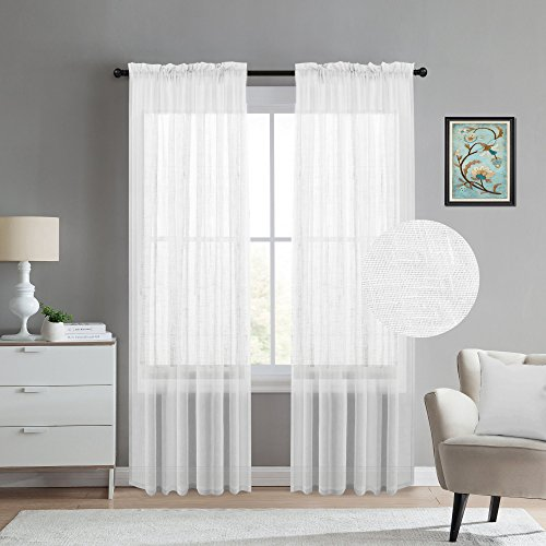 White Curtains 108 Inches Long Natural Linen Blended Textured Sheer Curtains for Living Room/Bedroom Rod-Pocket Extra Long Panels, Set of 2, Total 104