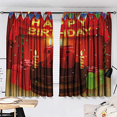 25th Birthday Privacy Assured Window Treatment Triangular Flags Presents Boxes Confetti Rain on Table with Cake Colorful top Darkening Curtains Multicolor W55 x L39 by Jinguizi (Image #1)