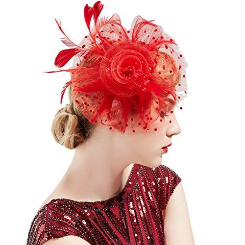 BABEYOND Women's Fascinators Hat Mesh Feather Fascinator Flower Hair Clip Veil Derby Hat Bridal 1920s Headpiece for Cocktail Tea Party (Red)