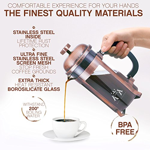 Copper French Press Coffee Maker Stainless Steel Cafetiere by King Koffee   34oz 1000 mL 8 Cups   Unique Extra Large Plunger   Antique Classic Edition   Milk Frother, Tea Infuser   Rust Free by VIKING (Image #1)