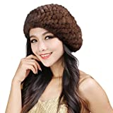 Fur Story 14618 Women's Knitted Real Mink Fur Beret Hat Brown