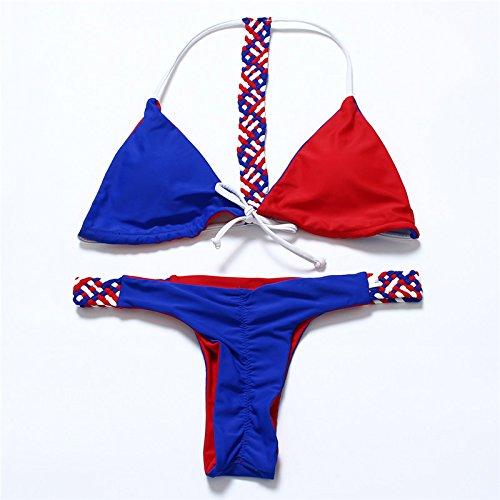 YONGYI La Sra Europea y de la moda estadounidense desgaste atractivo de la playa sencilla verano bikini triángulo dos correas de sujeción de dos piezas del bikini traje de baño Sra. Fondo rojo