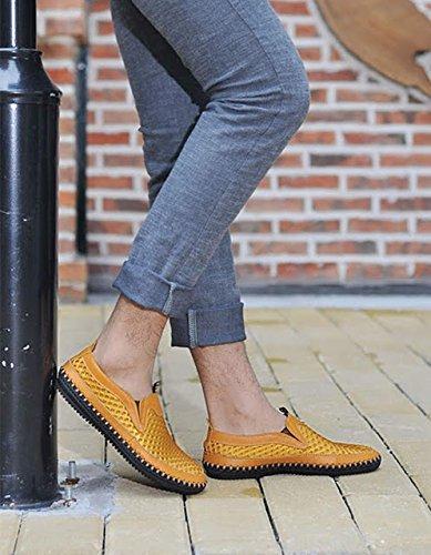 da mesh slip scarpe moda Bebete5858 uomo scarpe Mesh pelle scarpe in morbido on casual estive confortevole uomo estate marchio Giallo vera traspirante A566qIY