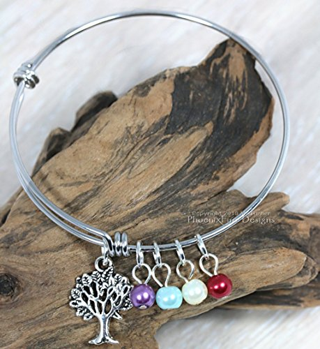 Personalized Family Tree Birthstone Charm Bangle for Nana / Mother's Day Gift (February Boys Charm)