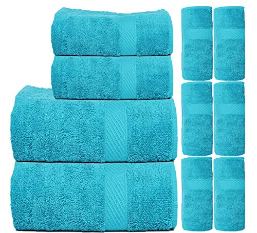 TRIDENT Fast Dry & Super Absorption 450 GSM 10-Pieces (Bath, Hand & Wash Cloth) Towel Gift Set – Blue