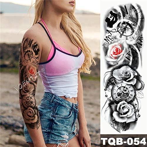 Zhuhuimin Gran Brazo de la Manga del Tatuaje Rosa Impermeable ...