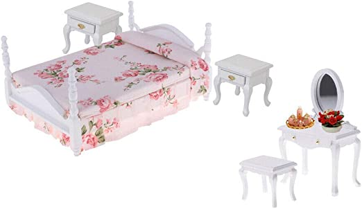 European Style 1//12 Wooden Floral Bed Dollhouse Bedroom Furniture Accessory