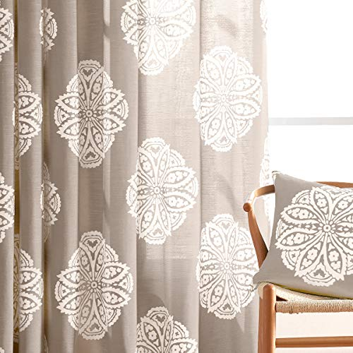 (Print Sheer Curtains for Living Room 84-inches Long Medallion Curtain Panels for Bedroom White Floral Drapes for Windows Taupe, 50