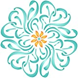 Flower Mandala Stencil - 6.5 x 6.5 inch (S) - Reusable Floral Flowers Flora Plants Wall Stencil Template - Use on Paper Projects Scrapbook Bullet Journal Walls Floors Fabric Furniture Glass Wood etc.