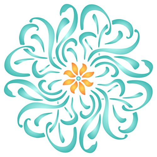 Flower Mandala Stencil - 14 x 14 inch (L) - Reusable Floral Flowers Flora Plants Wall Stencil Template - Use on Paper Projects Scrapbook Bullet Journal Walls Floors Fabric Furniture Glass Wood etc.
