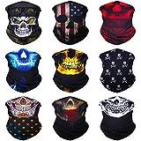 Sojourner 9PCS Seamless Bandanas Face Mask Headband Scarf Headwrap Neckwarmer & More – 12-in-1 Multifunctional for Music Festivals, Raves, Riding, Outdoors (9PCS Skull Series 2)