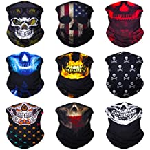 SoJourner 9PCS Seamless Bandanas Face Mask Headband Scarf Headwrap Neckwarmer & More – 12-in-1 Multifunctional for Music Festivals, Raves, Riding, Outdoors(Many Designs)