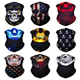 Sojourner 9PCS Seamless Bandanas Face Mask Headband Scarf Headwrap Neckwarmer & More - 12-in-1 Multifunctional for Music Festivals, Raves, Riding, Outdoors (9PCS Skull Series 2)