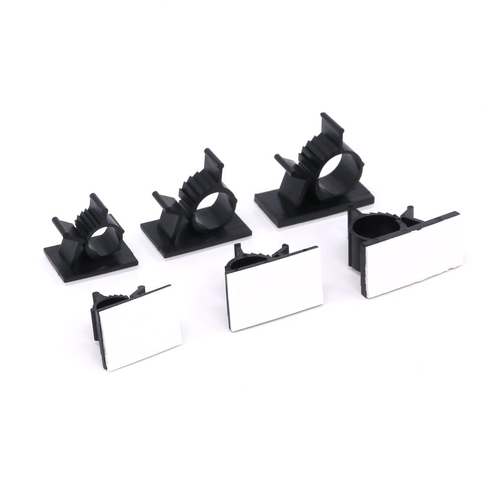 Rustark 100Pcs 3 Sizes Adjustable Multipurpose Self-Adhesive Cable Clips Wire Clamps Cord Holders Cable Organizers for Cord Management
