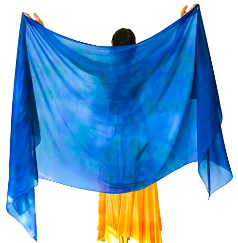 - Nahari Silks Womens 100% Silk Dance Scarves Shawls Wraps Solid Colors Ocean 108