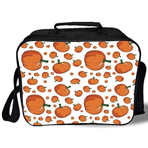 Harvest 3D Print Insulated Lunch Bag,Halloween Inspired Pattern Vivid Cartoon Style Plump Pumpkins Vegetable Decorative,for Work/School/Picnic,Orange Green White ()