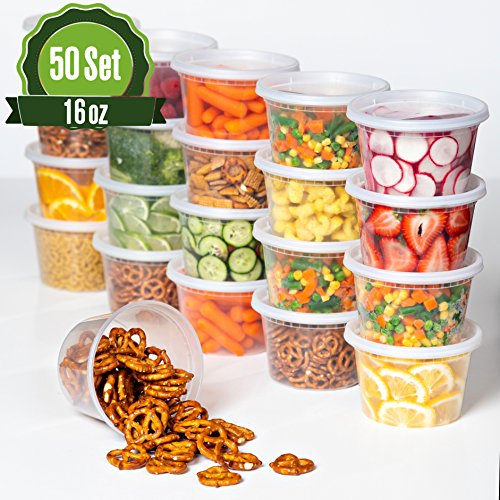 Plastic Food Storage Containers with Lids 16 oz - 50 Pack Lunch Deli Slime Small Round Clear Soup, Food Saver Container [ BPA Free, Reusable or Disposable, Dishwasher, Microwave & ()