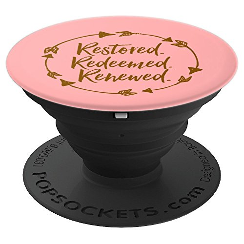 (Restored Redeemed Renewed Christian Woman Pink Faith Worship - PopSockets Grip and Stand for Phones and Tablets)