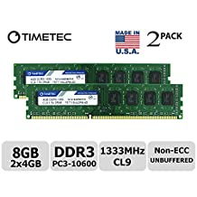 Timetec Hynix IC 8GB Kit(2x4GB) DDR3 1333MHz PC3-10600 Non ECC Unbuffered 1.5V CL9 1R8 Single Rank 240 Pin UDIMM Desktop PC Computer Memory Ram Module Upgrade (High Density 8GB Kit(2x4GB))