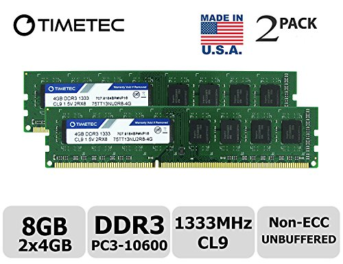 Timetec Hynix IC 8GB Kit (2x4GB) DDR3 1333MHz PC3-10600 Non ECC Unbuffered 1.5V CL9 2R8 Dual Rank 240 Pin UDIMM Desktop PC Computer Memory Ram Module Upgrade (Low Density 8GB Kit (2x4GB))