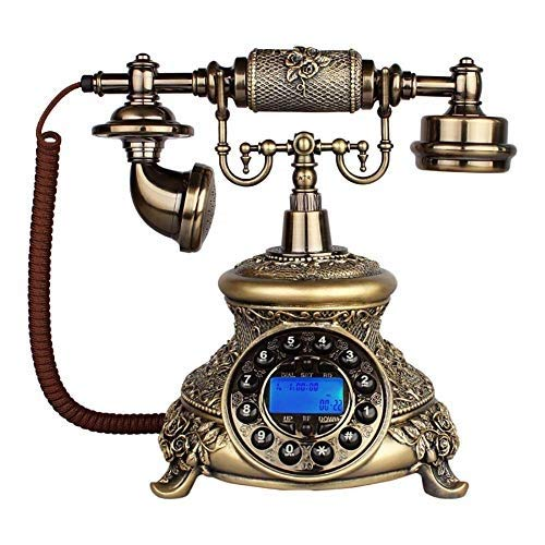 固定電話 アンティーク電話ヨーロッパクラシックコード付き電話樹脂レトロホーム固定電話スピードダイヤルハンズフリーリダイヤル機能ホームデコレーションオフィス工芸品 固定電話 B07QWQFV5X