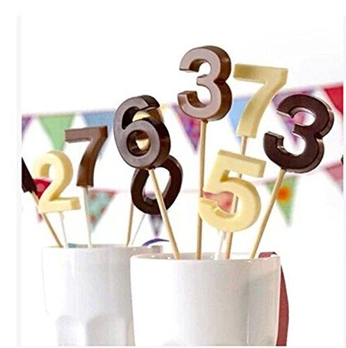 Da.Wa N/úmero 0-9 3d Molde de silicona con Lollipop Hole Fondant Cake Decoraci/ón de molde de chocolate Molde de caramelo Molde Lollipop