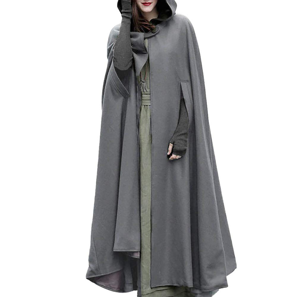 Halloween Cosplay Costumes Party Capes Unisex Christmas Day Hooded Cloak Medieval Cape (Gray B, M)