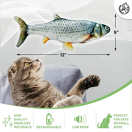 AmazinglyCat Dancing Fish Toy for Cats & Small Dogs – Motion Sensor Cat Toy with 2 Catnip Packets – USB-Chargeable, Soft, Durable, Washable, Low-Noise Floppy Fish Interactive Pet Gifts, 12x5 in.
