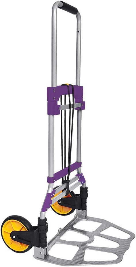 FULLWATT 264 Lb Capacity Folding Hand Truck and Dolly Aluminum Portable Folding Hand Cart with Telescoping Handle and Rubber Wheels (Purple)