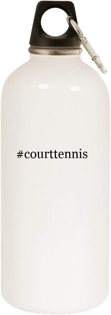 #courttennis - 20oz Hashtag Stainless Steel White Water Bottle with Carabiner, White