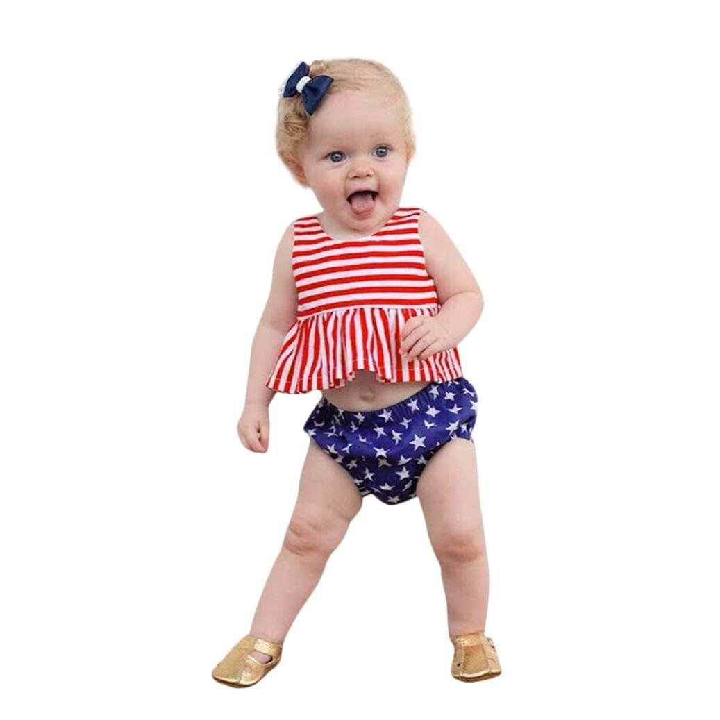 XEDUO 2Pcs Toddler Girls 4th of July Striped Stars Tops Vest Shorts Outfit Set