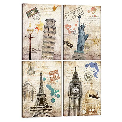 (4 Piece Wall Art Vintage World Historical Landscape Canvas Painting Print Home Decor Leaning Tower Picture Statue of Liberty Poster Artwork for Living Room Bedroom Stretched Framed Ready to Hang)