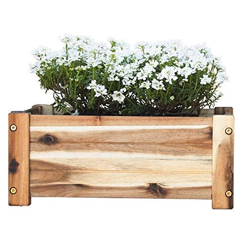 Villa Acacia Wooden Planter Box, Rectangle Shape for Garden, Patio or Window - 17 x 9.7 x 7 Inch - Planter Wooden Box Make