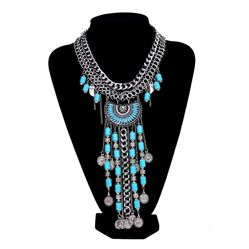 Paxuan Womens Antique Silver/Gold Alloy Vintage Long Boho Bohemia Turquoise Necklace Ethnic Tribal Beads Coin Fringe Statement Necklace Bohemian Style (Antique Silver)