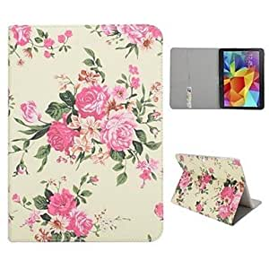 JJE Rose Side Flip Stand PC PU Auto Sleep/Wake UP Leather Case for Samsung Galaxy Tab 4 10.1 T530 T531 T535