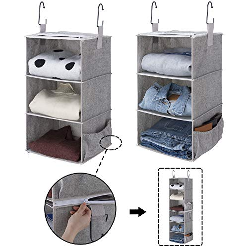 StorageWorks 2PCS Detachable 3-Shelf Hanging Closet Organizers, Collapsible Closet Hanging Shelves for Clothes and Shoes, Canvas, Gray, 12