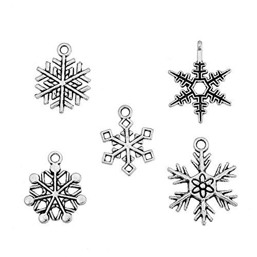 Christmas Snowflake Charm Pendants, 48 Random Designs, 19mm - 25mm (3/4-1 inch) ()