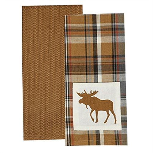 (Park Design Cotton Applique Roaring Thunder 2 Dishtowel Set Moose Kitchen Linens)