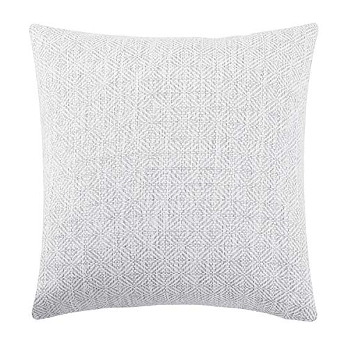 Jepeak Burlap Linen Throw Pillow Cover Rhombus Pattern Cushion Case, Solid Thickened Farmhouse Modern Home Decorative Square Luxury Pillow Case for Sofa Couch Bed (White/Grey, 24 x 24 Inches) from Jepeak