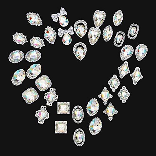 Bememo 36 Pieces 3D Nail Art Rhinestones Crystal Glass Metal Gem Stones Manicure Studs Nail Tips for Nail Art DIY (Style 1) by Bememo (Image #3)