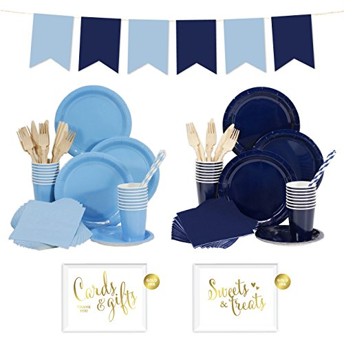 Andaz Press Complete 140-Piece Tableware Kit for 16 Guests, Baby Blue and Navy Blue, Includes Plates, Cups, Napkins, Spoons, Forks, Straws, Party Signs, Hanging Pennant Banner Decorations, (4 Piece Blue Table Napkins)