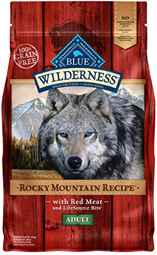 Blue Buffalo Wilderness Rocky Mountain Recipe High Protein Grain Free, Natural Adult Dry Dog Food, Red Meat 4-lb