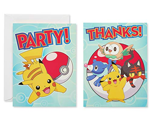 American Greetings Pokemon Party Supplies Invite and Thank-You Card Combo Pack, 8-Count]()