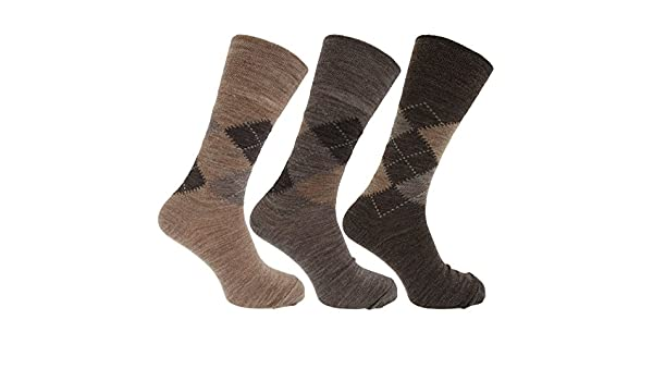 Calcetines con mezcla de lana de corderos Estampado a rombos tradicional sin elástico hombre caballero (Pack de 3), Assorted Brown Argyle, ...