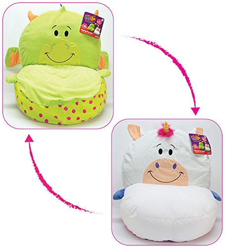 FlipaZoo 2 in1 Plush Toddler Chair  Transforms from Dragon to Unicorn  Snuggly Animal Seat Makes a Great Holiday Gift for Kids