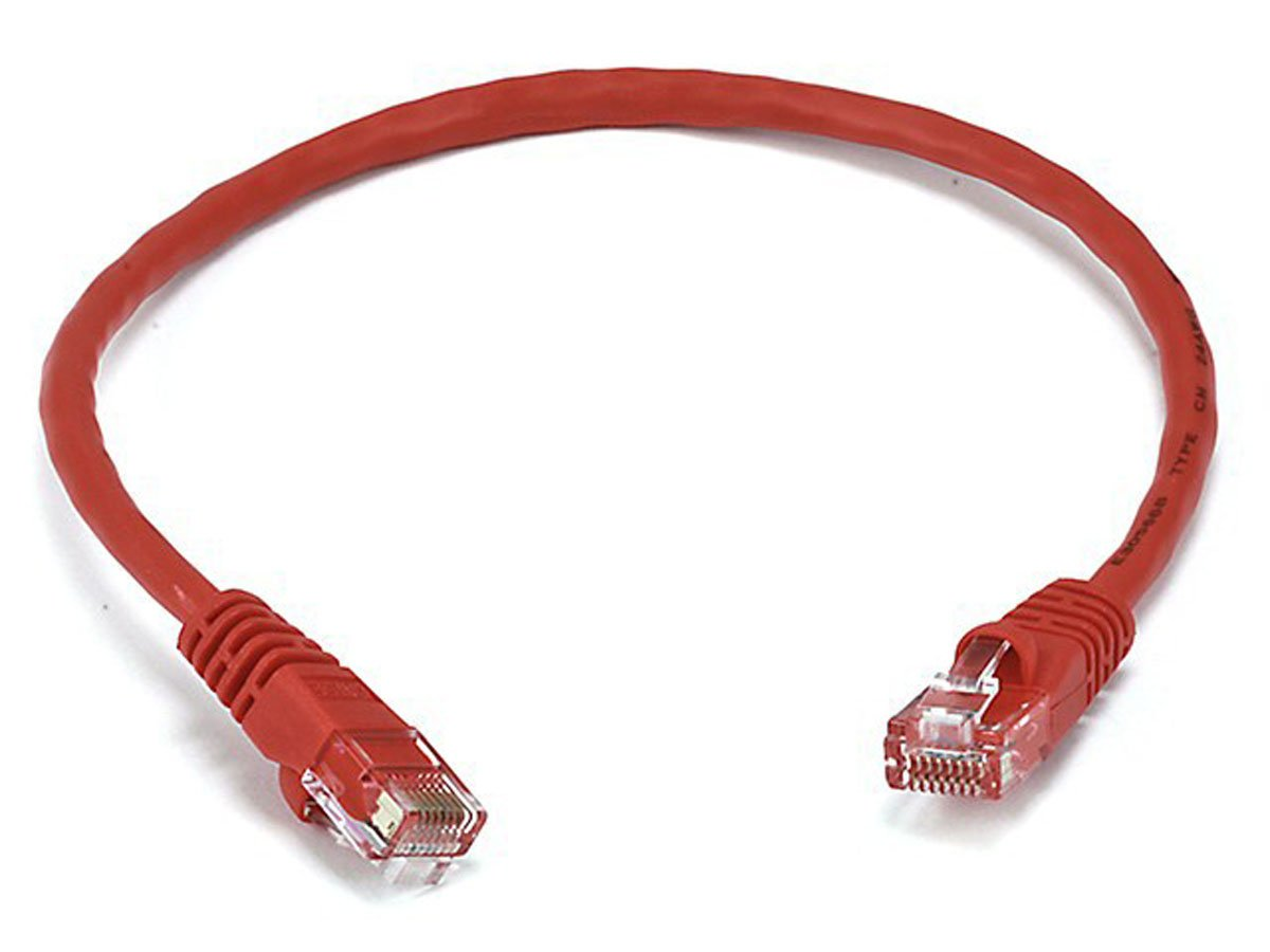Monoprice 24AWG Cat6 550MHz UTP Bare Copper Ethernet Network Cable, Red (102290)