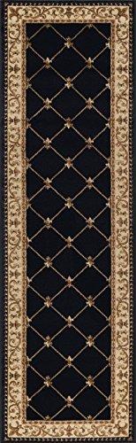 Orleans Traditional Border Black Runner Rug, 2' x 7'
