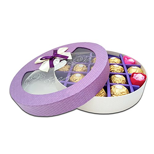 "Baidercor 8"" X 8"" X 2"" Round Chocolate Gift Box 21 Cavity Purple"